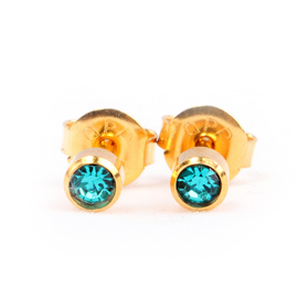 Blue Zircon Birthstone Ear Stud